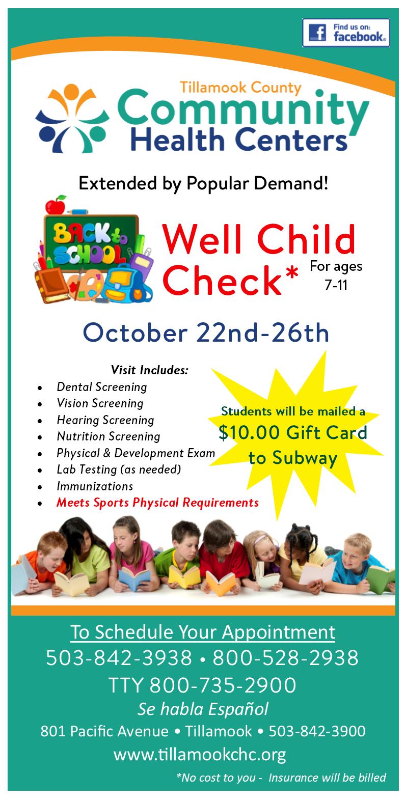 Well Child Exams 7 11 Yrs Oct 22 26 Hh No Logo Tillamook